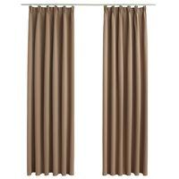 vidaXL Lystette gardiner med kroker 2 stk gråbrun 140x225 cm