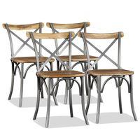 vidaXL Spisestoler 4 stk heltre mango med stålrygg