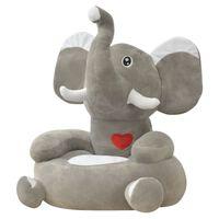 vidaXL Barnestol plysj elefant grå