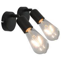 vidaXL Spotlys 2 stk med glødelamper 2 W svart E27