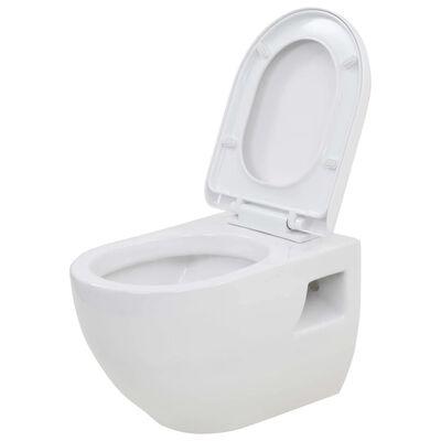 vidaXL Toalett i hvit keramikk veggmontert