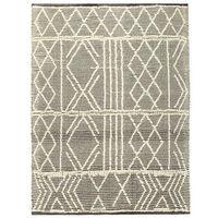 vidaXL Håndvevd teppe ull 80x150 cm svart/hvit