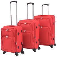 vidaXL Mykt koffertsett i 3 deler rød