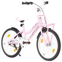 vidaXL Barnesykkel med bagasjebrett foran 20 tommer rosa og svart