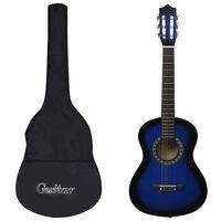 """vidaXL Klassisk gitar 8-delers sett for nybegynnere 1/2 34"""" blå"""