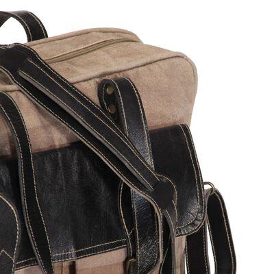 vidaXL Håndveske 40x53 cm lerret og ekte skinn brun