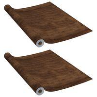 vidaXL Selvklebende møbelfolier 2 stk 500x90 cm PVC mørk eikefarge