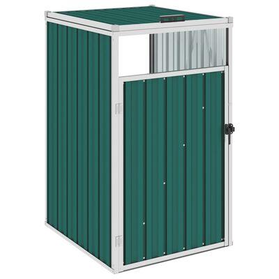 vidaXL Søppeldunkskur grønn 72x81x121 cm stål