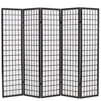 vidaXL Sammenleggbar romdeler 5 paneler japansk stil 200x170 cm svart