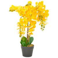 vidaXL Kunstig orkidè med potte gul 60 cm