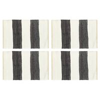 vidaXL Bordmatter 4 stk Chindi stripet antrasitt hvit 30x45 cm