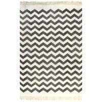 vidaXL Gulvsteppe kilim-vevet bomull med mønster 120x180 cm svart/hvit