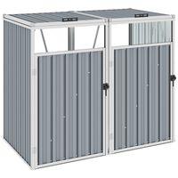 vidaXL Dobbelt søppeldunkskur grå 143x81x121 cm stål