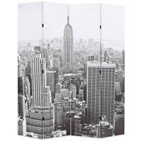 vidaXL Sammenleggbar romdeler 160x170 cm New York dagtid svart og hvit