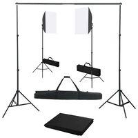 vidaXL Fotostudiosett med softbokslys og bakgrunn