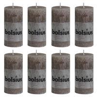 Bolsius Rustikke søylelys 8 stk 100x50 mm gråbrun