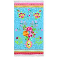 Happiness Strandhåndkle WILD ROSE 100x180 cm havblå