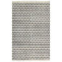 vidaXL Gulvsteppe kilim-vevet bomull med mønster 160x230 cm svart/hvit