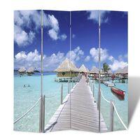 vidaXL Sammenleggbar romdeler 160x170 cm strand