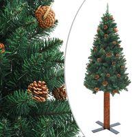 vidaXL Slankt juletre med ekte tre og furukongler grønn 210 cm PVC