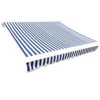 vidaXL Markiseduk blå og hvit 4 x 3 m (ramme ikke inkludert)