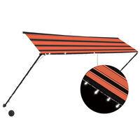 vidaXL Uttrekkbar markise med LED 300x150 cm oransje og brun