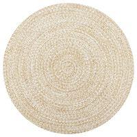 vidaXL Håndlaget teppe jute hvit og naturlig 120 cm