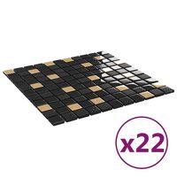 vidaXL Selvklebende mosaikkfliser 22 stk svart og gull 30x30 cm glass