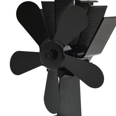 vidaXL Varmedrevet ovnsvifte 5 blader svart