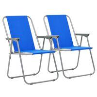 vidaXL Campingstoler sammenleggbare 2 stk 52x59x80 cm blå