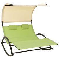 vidaXL Dobbel solseng med solskjerm textilene grønn og kremhvit