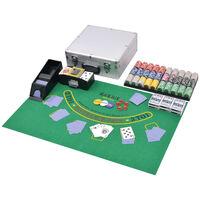vidaXL Poker-/blackjacksett med 600 laser-sjetonger aluminium