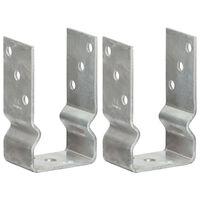 vidaXL Gjerdespyd 2 stk sølv 8x6x15 cm galvanisert stål