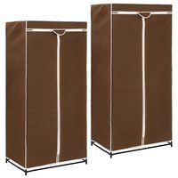 vidaXL Garderobeskap 2 stk brun 75x50x160 cm