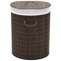 vidaXL Skittentøyskurv bambus oval mørkebrun