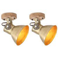 vidaXL Industrielle vegg-/taklamper 2 stk messing 20x25 cm E27
