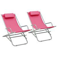 vidaXL Solstoler 2 stk stål rosa