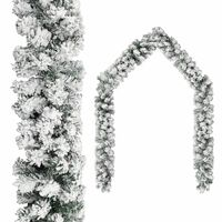vidaXL Julekrans med flokket snø grønn 10 m PVC
