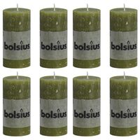 Bolsius Rustikke søylelys 8 stk 100x50 mm oliven