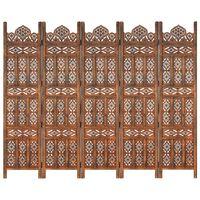 vidaXL Romdeler håndskåret 5 paneler brun 200x165 cm heltre mango
