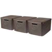 Curver Style Oppbevaringsboks med lokk 3 stk størrelse L brun 240651