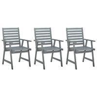 vidaXL Utendørs spisestoler 3 stk grå heltre akasie