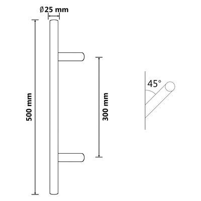 vidaXL Dørstang 500 mm rustfritt stål
