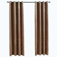 vidaXL Lystette gardiner med ringer 2 stk fløyel beige 140x225 cm