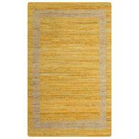 vidaXL Håndlaget teppe jute gul 160x230 cm