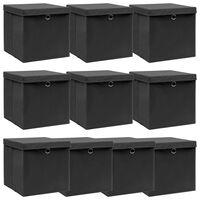 vidaXL Oppbevaringsbokser med lokk 10 stk svart 32x32x32 cm stoff