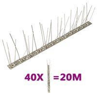 vidaXL Fuglepigger 5 rader 40 stk rustfritt stål 20 m