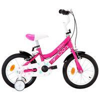 vidaXL Barnesykkel 14 tommer svart og rosa