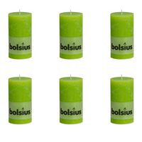 Bolsius Rustikke kubbelys 130 x 68 mm limegrønn 6 stk