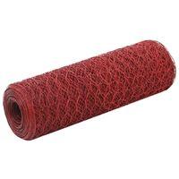 vidaXL Trådgjerde kylling stål med PVC-belegg 25x0,5 m rød